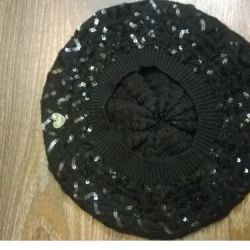 New female beret with sequins warm