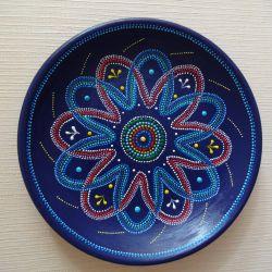 Διακοσμητικό πιάτο Λουλούδι σε μπλε