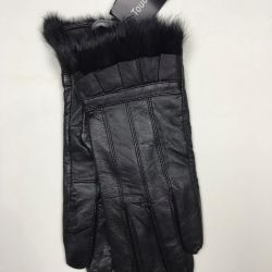 Νέα μαύρα δερμάτινα γάντια