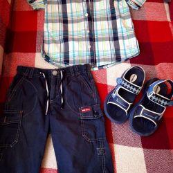 Σετ πώλησης: πουκάμισο, παντελόνια, σανδάλια 122-128