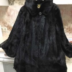Fur coat with a hood mink for respectable ladies