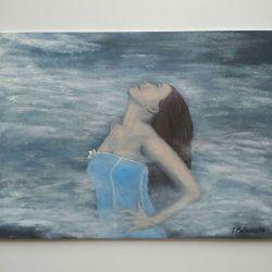 Авторская картина с девушкой В облаках