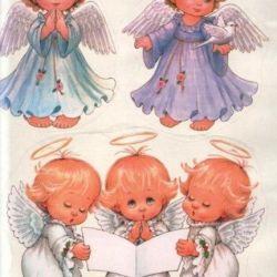 sticker happy new year merry christmas angel santa claus