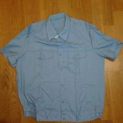 New uniform, military blue shirt