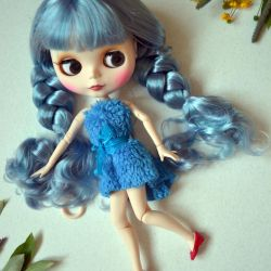 Collectible blythe blue braids and matte face