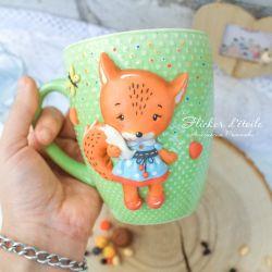 Polymer clay mug. Fox