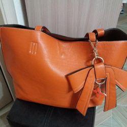Τσάντα λαμπερό πορτοκαλί δερματίνη