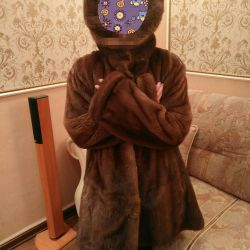 Mink coat with a hood size 50-54