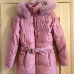 Pink winter down jacket 46-48 rub