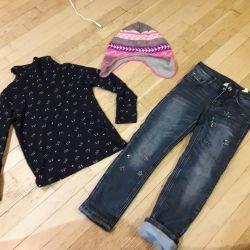 Warm jeans, turtleneck Austin. Hat