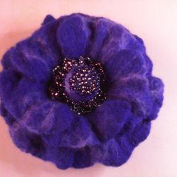 Assorted felted flower brooch