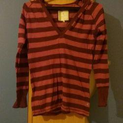 Striped jacket with a hood