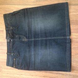 Denim skirt short