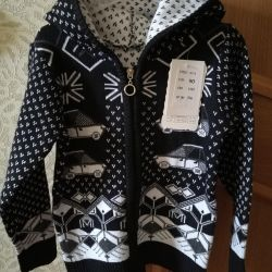 Cardigan blouse with a zipper for a boy