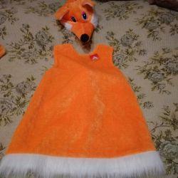 5-8 yaşındaki tilki kostümü. 115'den 128'e kadar büyüme
