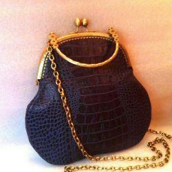 Bag blue author's leather