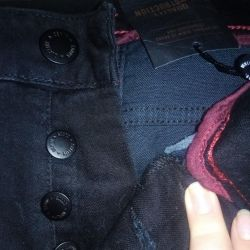 NEW denim shorts with a label