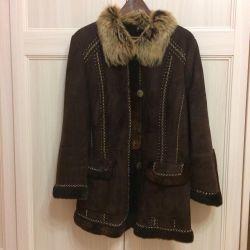 Exclusive natural female sheepskin coat, river 46-48
