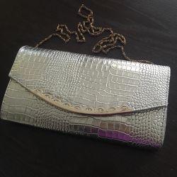 τσάντα συμπλέκτη νέα χρυσή αλυσίδα