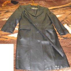 Women's leather coat black size 46 48