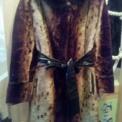Muton coat with a mink hood 42/44/46