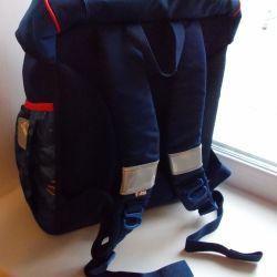 School blue backpack