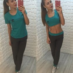 Sports Suit Top T-shirt and Pants
