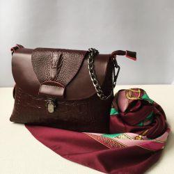 New bag of genuine leather burgundy burgundy