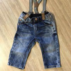 Jartiyer ile 6-9 ay arası kot pantolon
