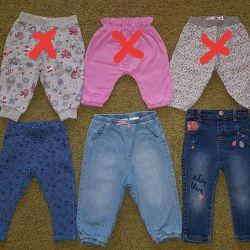 Παντελόνια υπογεγραμμένα για κορίτσια 74-80 + μεγέθη