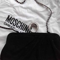 Clutch new Moschino Italy suede black rhinestones St.