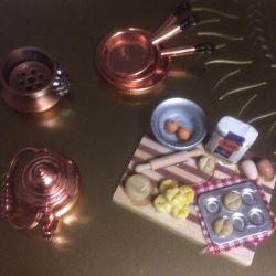 Ware for a dollhouse. Copper.