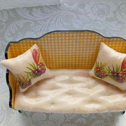 Sofa for Barbie, handmade.