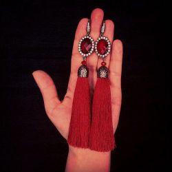 LUXURY tassel earrings dark red (silk)