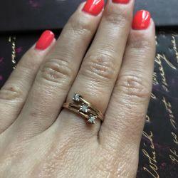Кольцо с бриллиантами р.16