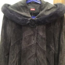 Velor jacket with a hood
