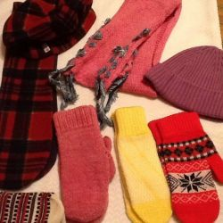 Берет шарф варежки
