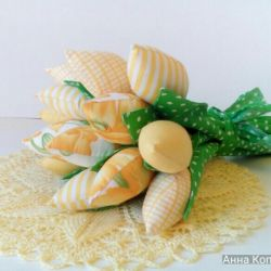 Tulips made of fabric. Handmade .