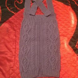 Вязаная юбка на лямках