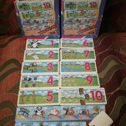 Account to 10. Wooden puzzles. NEW