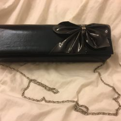 New black leather clutch (bag)