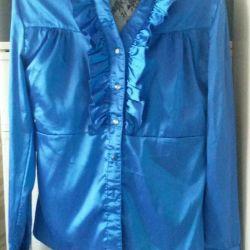Μπλε σατέν μπλούζα με κουμπιά