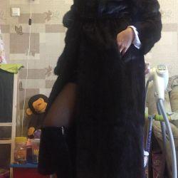 One-piece Mink fur coat with belt 42-44 120 cm