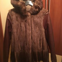 Mink fur coat with leather sleeves