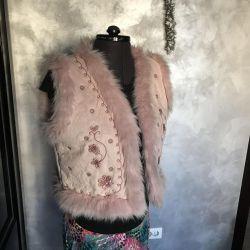 Vest female r 46 fur pink