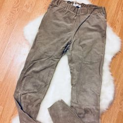 Lined suede pants