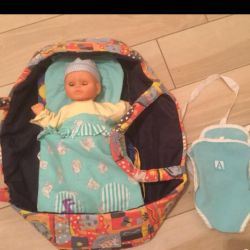 Baby doll with carrying, ses set, case, A4, A3 folders