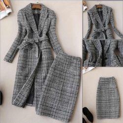 Örme takım elbise, ceket ve etek.