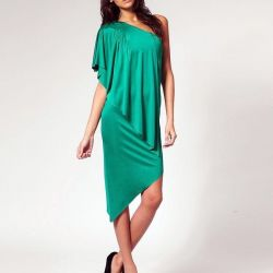 Новое ассиметричное вечернее синее платье