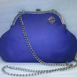 Bag leather blue retro style